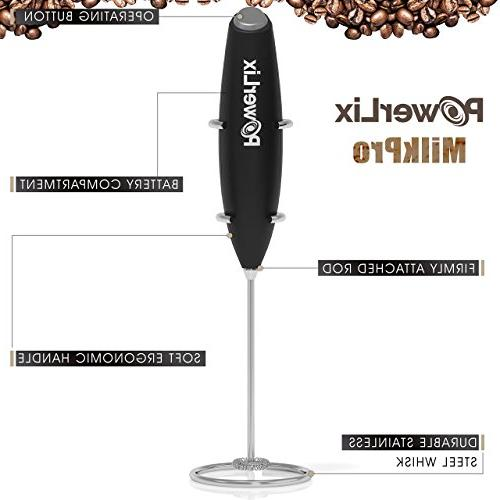 PowerLix Frother Handheld Battery Foam Maker For Cappuccino, Hot Drink Mixer Steel Stainless Stand