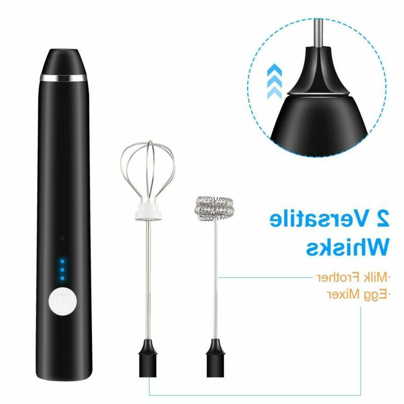 Rechargeable Electric Foam Maker Stainless Whisk