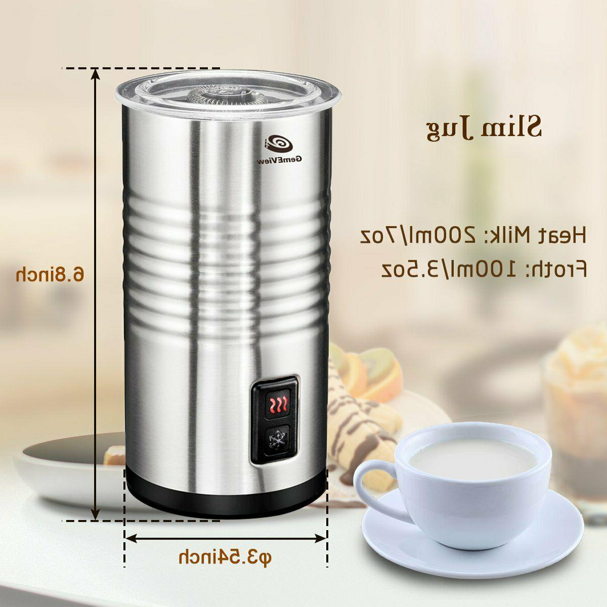 Stainless Steel Milk Frother Warmer and Hot