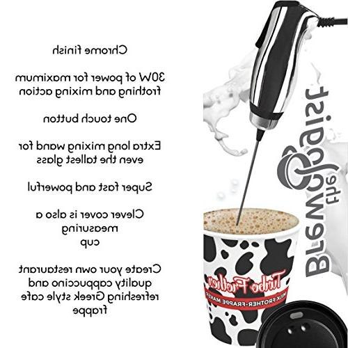 Turbo Milk Frother Frappe Maker with POWERFUL motor Bulletproof Coffee Protein Shakes Matcha Tea Cappuccino and Brewologist