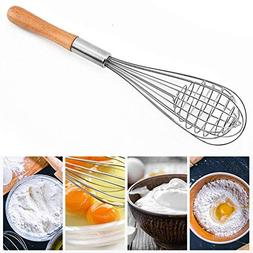 Manual Egg Beater Wooden Handle Stainless Steel Stirrer Tool