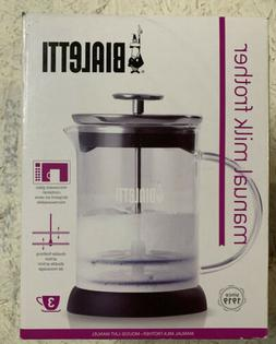 Bialetti Manual Glass Milk Frother 3 Cups Cappuccino Maker 1