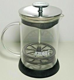 Bialetti Manual Glass Milk Frother 3 Cups Cappuccino Coffee