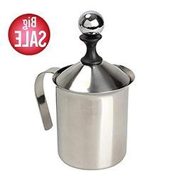 Manual Milk Frother, Stainless Steel Hand Pump Milk Foamer,
