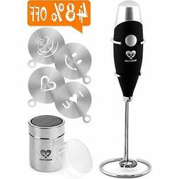 Best Milk Frother Coffee Art Set - Handheld Electric Portabl