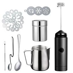 Milk Frother Handheld Coffee Art Set with Pitcher Powder Coc