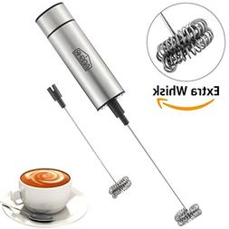 AOSHR Milk Frother Handheld Double Spring Whisk Head Powerfu