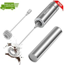 Milk Frother, Milk Frother Handheld, with 2 Stainless Steel