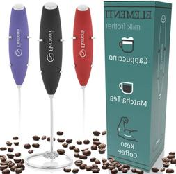 Milk Frother With Stainless Steel Whisk & Stand Handheld Bat