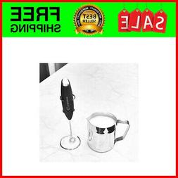 Milk Frother with Stainless Steel Whisk & Stand - Handheld