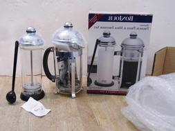NEW BONJOUR  FRENCH PRESS COFFEE MAKER & MILK FROTHER SET ~