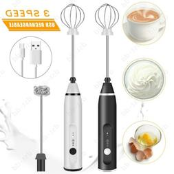 Rechargeable Electric Milk Frother Handheld 2 Whisk Foam Mak