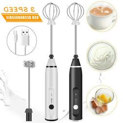 Rechargeable Electric Milk Frother Handheld Double Whisk Foa