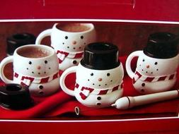 snowman hot chocolate mugs with milk frother