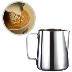 Stainless Steel Milk Frother Pitcher Jug for Latte Coffee Fr