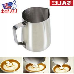 Stainless Steel Milk Frother Pitcher Milk Foam Container Mea