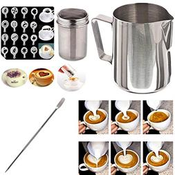 Buytra Stainless Steel Milk Frothing Pitcher 12 oz Coffee Ch