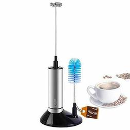 TECHO Milk Frother Stainless Steel Electric Handheld Wand wi