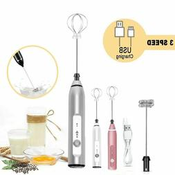 US Rechargeable Electric Milk Frother Handheld 2 Whisk Foam