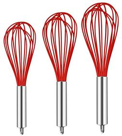 TEEVEA  3 Pack Very Sturdy Kitchen Whisk Silicone Balloon Wi